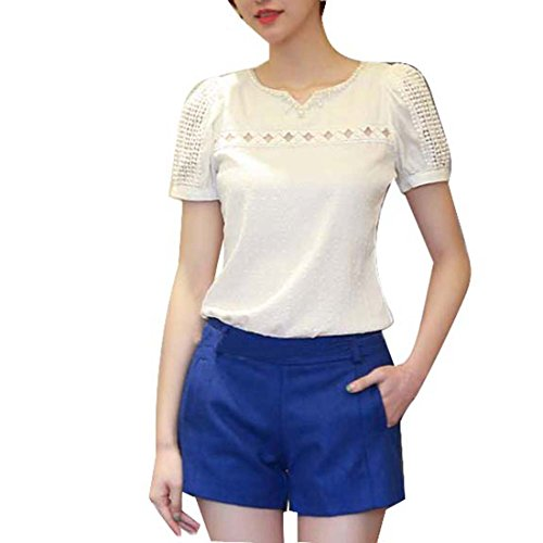 Internet Ladies Girls Lace Short Sleeve Shirt V Neck Chiffon Blouse (UK 6-8/S)