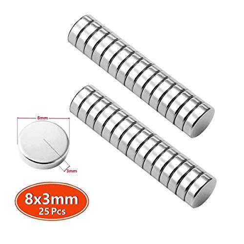 Mini Magnete Neo Neodym Seltene Erde N45 Stärke 1,4 kg 8 x 3 mm Handwerk Modelle DIY personalisierte Multi-Use für Tür Whiteboard Magnetische Karte Magnetische Bildschirm Tür Bulletin Boards 25pc (Bulletin Magnetische Board)