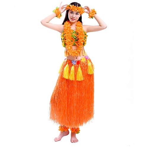 Ljourney Gonna di Erba Hawaiana Gonna Hawaiana Ghirlanda Set Costume Hawaiano con Collane e bracciali per Masquerade Giochi di Ruolo Turismo balneare