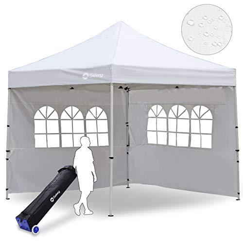 Sekey Garten 3X3M Pavillon/Faltpavillon/Gartenpavillon/Gartenlauben/Party-Und Festzelt/Camping-Und Festival-Zelt/, für Garten/Party/Hochzeit (Weiß)
