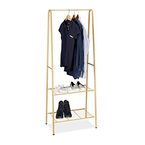 Relaxdays Kleiderständer SANDRA mit 2 Ablagen, Metall, Garderobenständer, mit Kleiderstange HBT: 160 x 61,5 x 38 cm, honigbraun