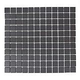 Mosaikfliesen Fliesen Mosaik Küche Bad WC Wohnbereich Fliesenspiegel Keramikmosaik Quadrat Schwarz R10 Boden 5mm #387