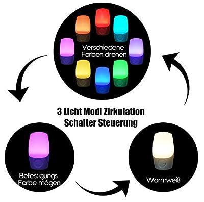 Nachtlicht Steckdose Farbe ausgewählt,Emotionlite Farbrotations LED Nachtlicht,Dämmerungssensor,Wählen Sie Mehrfarbig Warmweiß durch Schalter. Nursery Decor, Kinderzimmer, Schlafzimmer, 2 Stück