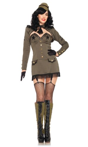 Pin Girl Kostüm Up - Leg Avenue 83955 - Pin Up Army Girl Kostüm, Größe M, khaki