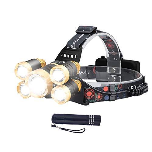 LED Stirnlampe Kopflampe USB Wiederaufladbare, Wasserdicht und Zoombare 5 LED Scheinwerfer, T6 + XPE Stirnlampen Kopflampe f¨¹r Camping, Laufen,Wandern, Angeln, Radfahren(Freie Hand Fackel)