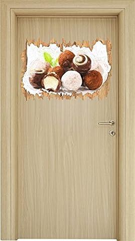 Edle Trüffelpralinen Pinsel Effekt Holzdurchbruch im 3D-Look , Wand- oder Türaufkleber Format: 62x42cm, Wandsticker, Wandtattoo, Wanddekoration