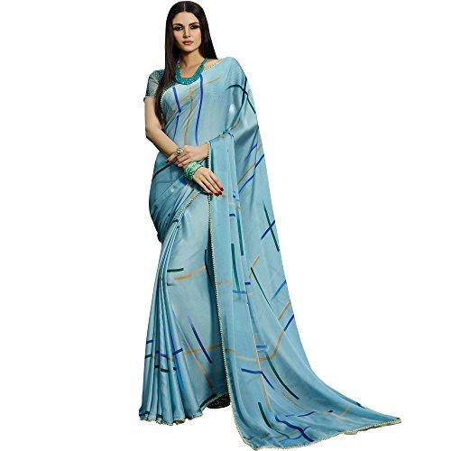 Shaily Retails Women's Satin Saree With Blouse Piece (Kora5011Sssr0001, Sky Blue, Free...