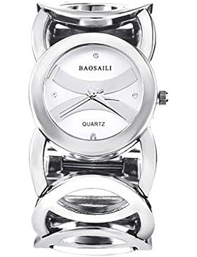 Souarts Damen Silber Farbe Edelstahl Armbanduhr Strass Quartzuhr Analog mit Batterie