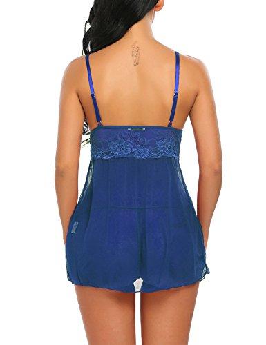 Unibelle Damen Dessous Set Reizwäsche Spitzen Lingerie Nachtwäsche Babydolls Nachthemd Nachtkleid Blau