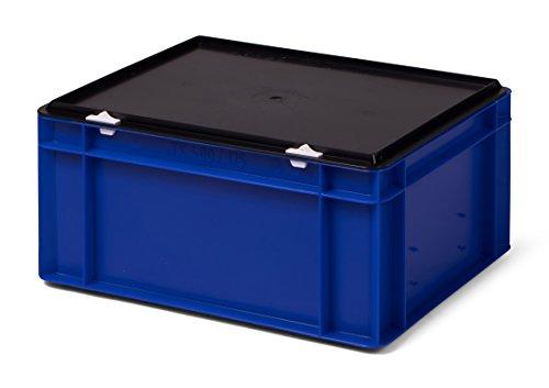 en blau, mit schwarzem Verschlußdeckel, 400x300x186 mm (LxBxH), 15 Liter, aus Kunststoff (PP) ()