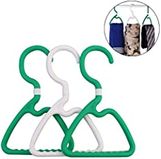 KM Small Plastic Hangers with Rotating Top Hook, Set of 3, Color : Green & White