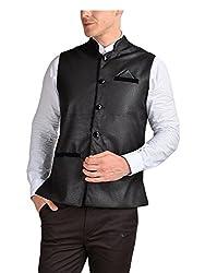 FDN Men's Jute Waistcoat(BLK775_Black_M)
