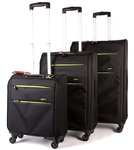 ev-404 Noir Vert citron – lot de 3 léger bagage Everest Set 4 valise à roulettes