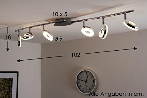 Led Ceiling spot light Mezzi 6 x 6 Watt - 2700 Lumen - 3000 Kelvin warm white