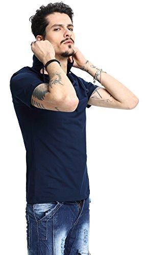 Whatlees Herren Basic reguläre Passform Kapuzenpullover aus weiches Jersey B025-blue