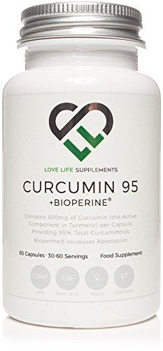 Curcumin 95 + Bioperine® von LLS | Hochwertiger Kurkuma-Extrakt mit 95% Curcuminoiden und Bioperine® (schwarzer Pfeffer-Extrakt) für verbesserte Bioverfügbarkeit | Enthält 500mg x 60 Veg Kapseln | Hergestellt in Großbritannien unter GMP-Lizenz