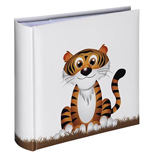 Hama Einsteck-Fotoalbum Liam (Memo-Album mit 100 Seiten, zum Einstecken von 200 Fotos im Format 10x15, Tiger-Motiv, 22,5x22,5cm) Einsteckalbum Fotobuch weiß