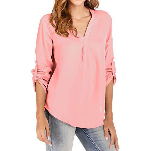 kolila Damen Einfach Einfarbig Taste 3/4 Ärmel Shirt Bluse Tops Langarm Frauen Casual Büroarbeit V-Ausschnitt Hemden T-Shirt -