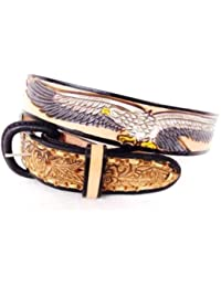 Country & Biker - Ceinture homme cuir - Country Eagle & USA Size 44 # XM-230