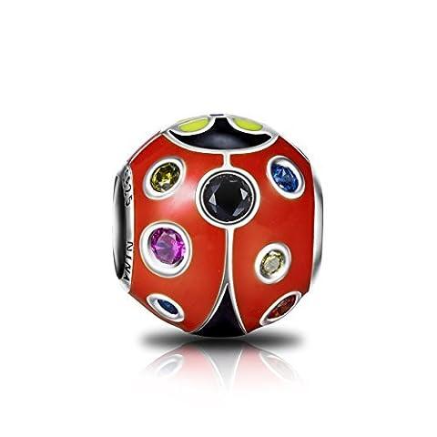 Ninaqueen 925 Sterling Silver Enamel Animal Ladybug Charms Fit Pandora Bracelet by NinaQueen