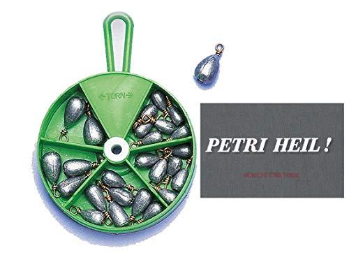 Birnenblei Sortiment, Spender-Dose Verschiedene Gewichte, 27 Stck.+ gratis Petri Heil! Aufkleber