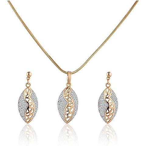 Bling fashion zirconi oro 18K Placcato platino cristallo ovale catena ciondolo collana e orecchini set t009a - Ovale Mat