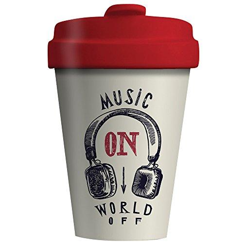 BambooCup Music on World Off Weiß Schwarz Rot Coffee-to-Go-Becher aus 100% Bambus Umweltfreundlich 400ml Neu Bamboo0020 (Bambus Schwarzer)