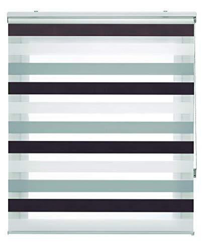 Blindecor Lira Estor Enrollable Doble Tejido, Noche y día,Tricolor 120 x 180 cm, Color Marron Gris, Poliéster