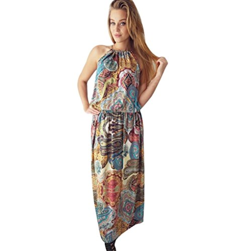Hot! Damen Kleid Yesmile Frauen Sommer Bohemian Style Vintage Boho Lange Maxi Kleid Abend Party Strand Floral Dress Daily Casual Mode Kleid Verlieren Hals Halter Kleid (S, ()
