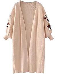 VJGOAL Mujeres Otoño E Invierno Moda Casual Color sólido Apliques Linterna Manga Larga de Gran tamaño Loose de Punto Suéter Cardigan Outwear Abrigo