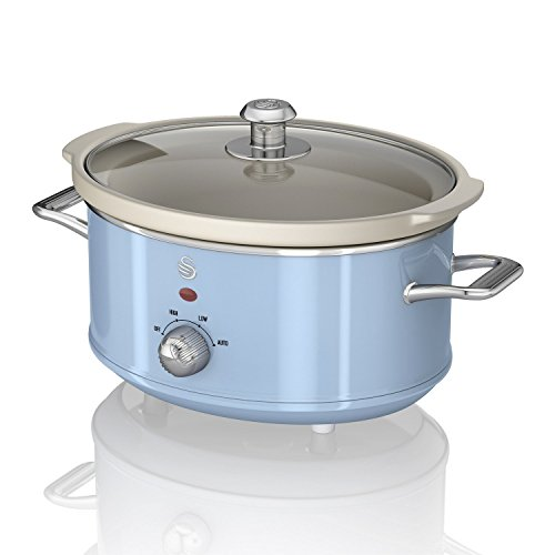 Swan SF17021BLN 3.5 Litre Retro Slow Cooker with Removable Ceramic Pot, 3 Heat Settings - Includes Recipe Book, 200w, Blue
