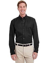 Mens Tall Foundation 100% Cotton Long-Sleeve Twill Shirt with Teflono - BLACK - XLT