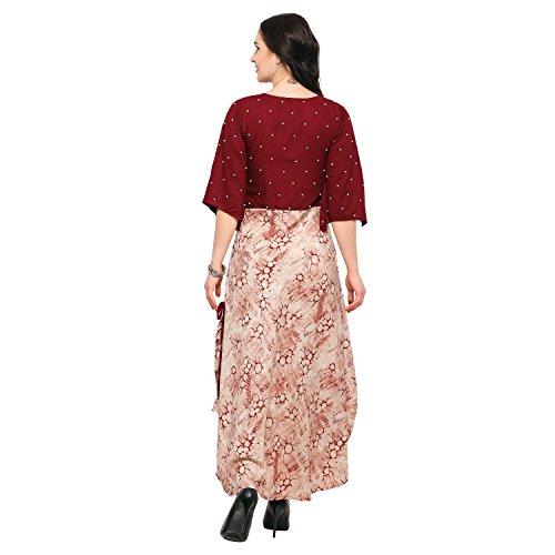 Shopping Queen Women's Rayon Flared Kurti (A073_ Maroon_L)