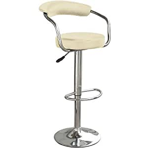 Cream & Chrome Swivel Bar Kitchen Breakfast Stools Chair 060