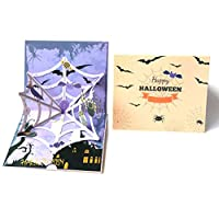 7thLake 3D Greeting Card Halloween Greeting Card Horror Spider Cobweb Greeting Card Halloween Party Invitation Card 1PCS