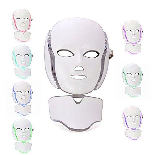 Beautystar 7 Couleurs Masque Cosmétique Soin du Visage et du Cou LED Effet Magique Multifonction Rajeunissement Anti-âge Cadeau Noël