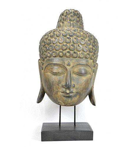 Artisanal Grand Maske Buddha-Kopf auf Fuß 66cm, zum Aufstellen. Skulptur auf Holz handwerkliche.