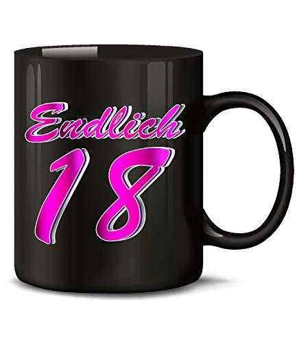 Endlich 18 Volljährig Tasse Becher Kaffee Geburtstag Geschenk Jungs Mädchen Tochter Sohn Freund Freundin Teenager Happy Birthday Artikel Ideen