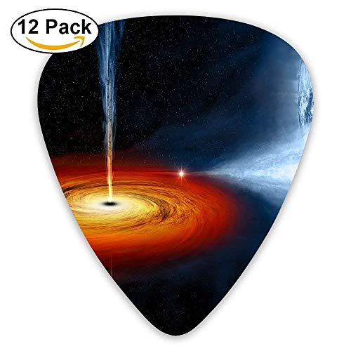 12-Pack Custom Guitar Picks Black Hole Light Standard Bass Guitarist Music Gifts,0.46/0.73/0.96 Mm Guitar - Round-hole Grips