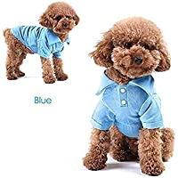 ADYK Cotton Plain Dog Collar Tshirt with Buttons(Red,Blue,Orange,Green) (Small(2-3KG), Blue)
