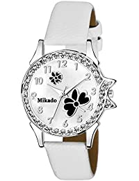 Mikado Stylish Black Dial And White Strap Analog Watch For Women And Girls