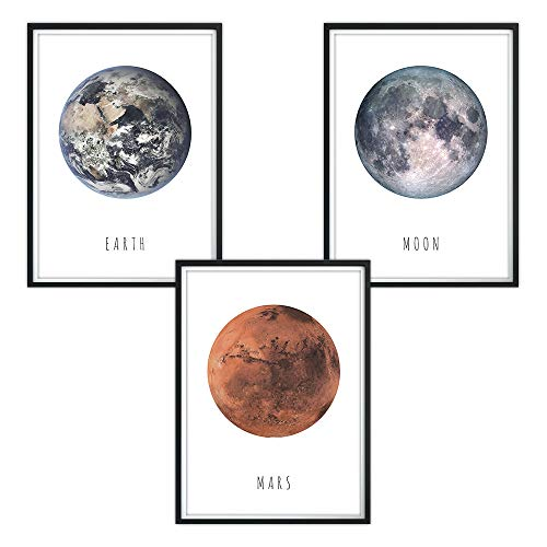 3er Set Earth-Moon-Mars Poster DINA4 für Bilderrahmen Kinderzimmer Kinderposter, Babyzimmer, Baby Bilder, Dekoration, Wandbild Kinder