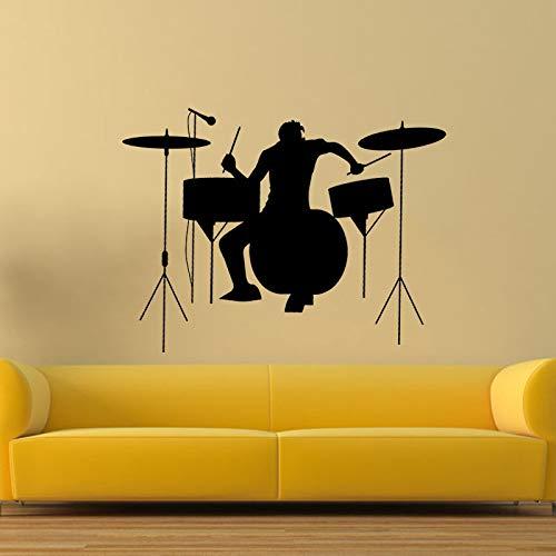 wanmeidp Schlagzeuger Silhouette Rock Band Musik Wandaufkleber Wohnzimmer Vinyl Aufkleber 43 * 57 cm - Rock Band Silhouette