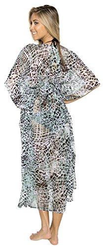 La Leela obtenir 5 en 1 ♛ maillot bain maillot bain caribbean bikini beach party couvrir nightwear robe courte casual tunc top pure légère en mousseline soie taille plus kimono longue maxi Vert