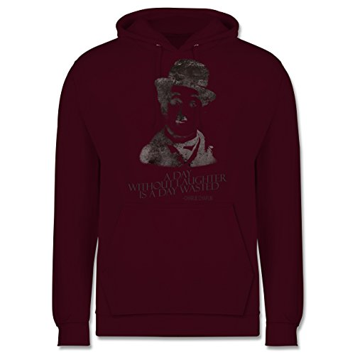 Vintage - Charlie Chaplin - a day without laughter is a day wasted - Männer Premium Kapuzenpullover / Hoodie Burgundrot