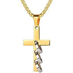 FaithHeart Bijoux Chrétien Collier Pendentif à Croix Bague en Acier INOX/Doré 18K pour Homme/Femme avec Chaîne Vénitienne Communion Baptème