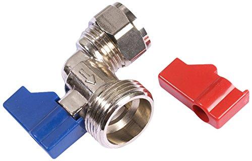Bulk Hardware BH02905 Waschmaschinenventil und angewinkelter Griff 15 mm x 3/4 BSP, Weiß -