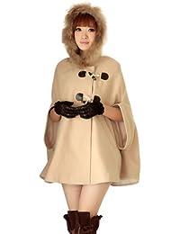 Imixcity Women Winter Warm Cloak Cape Ponchos Coat Fledermaus Batwing Parka Jacket