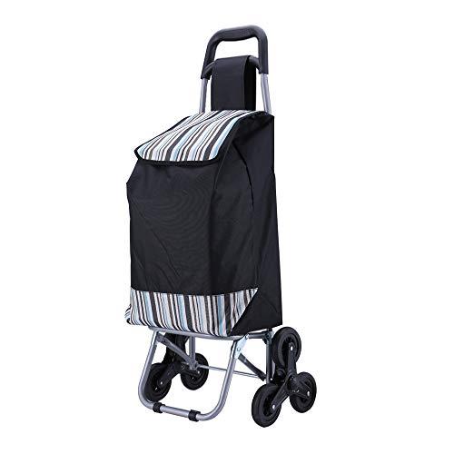 CoCo Living Einkaufstrolley Gestell klappbar mit Metallspeichenrad Faltbar Abnehmbarer Tasche 40x32x93cm Schwarz