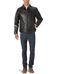 Schott NYC Men's Collar Leather Long Sleeve Jacket